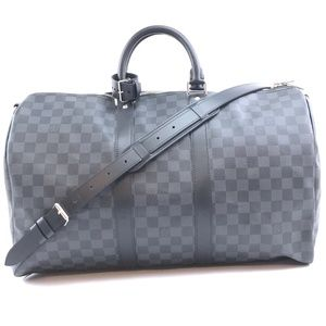 Keepall with Strap 45 Graphite Canvas Travel Bag